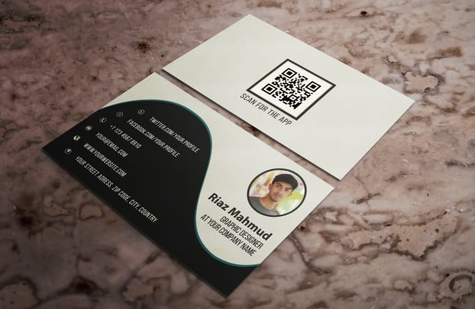 design personal business card with qr code