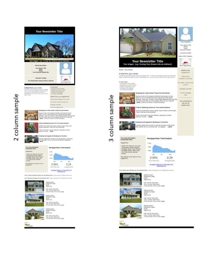 create email and print newsletters for real estate agents by