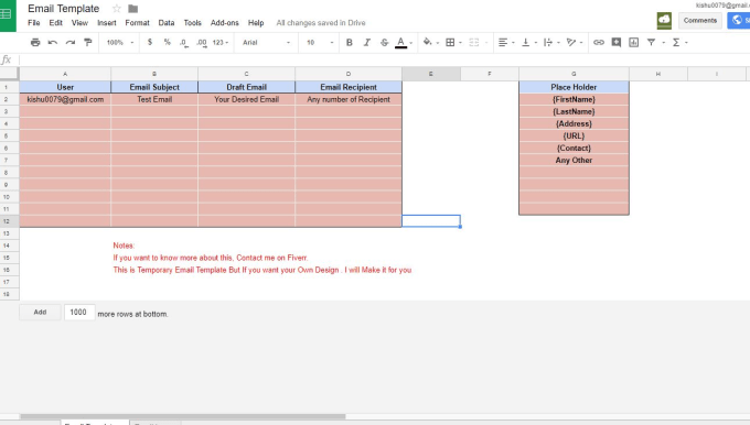 Make email templates and customized emails in google sheets by Kishu0079