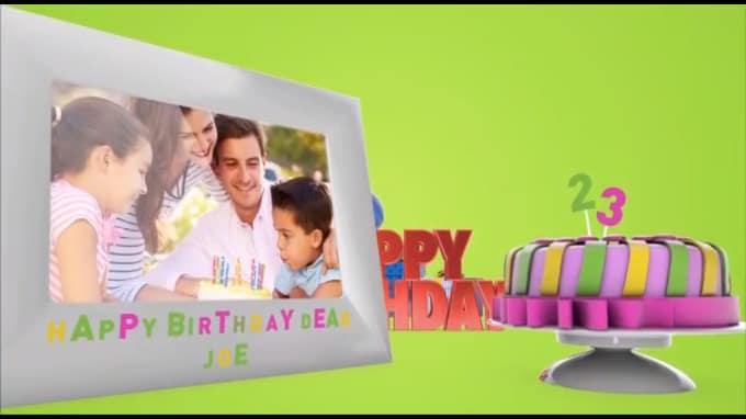 Create Happy Birthday Greeting 3d Video Card By Yogeshrawat