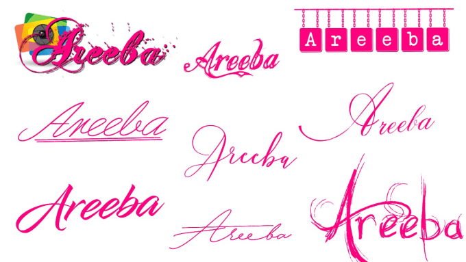 areeba_ : I will write your name logo in black, white, and transparent  background for $5 on www fiverr com