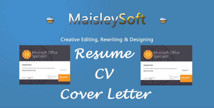 I Will Redesign Write Edit Your Cv Resume Cover Letter Linkedin Profile