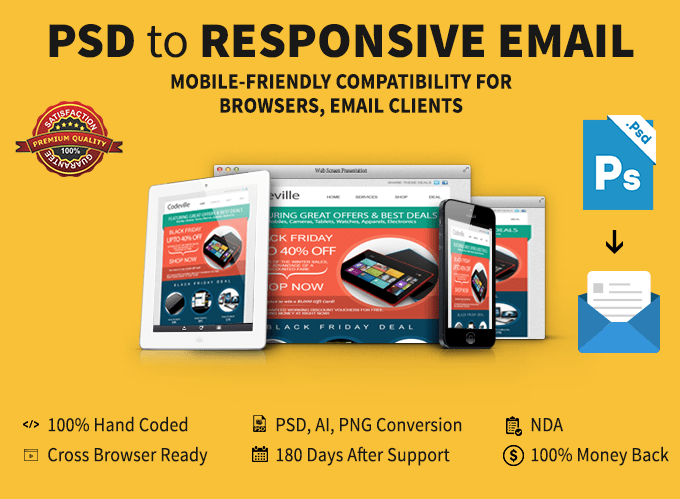 Code Psd To Responsive Html Email Mailchimp Template By Thecodeville - Mailchimp mobile templates
