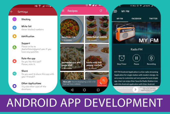 develop android recipes app radio news music videos joke webview app