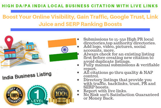 do high da pa 100 indian local SEO citation with live links