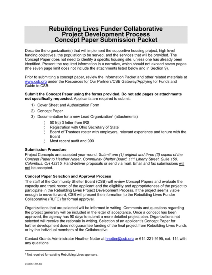 sample concept paper for a project proposal