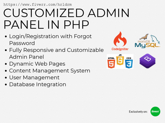 develop a customized admin panel in PHP