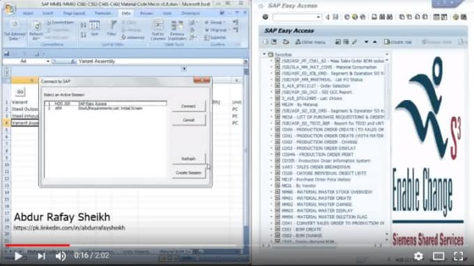 automate excel or link excel to sap using vba and macros or javascript apps