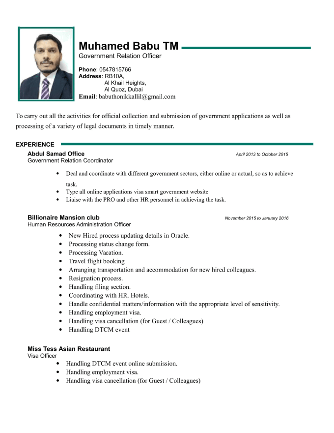 resume and cover letter both arabic and english