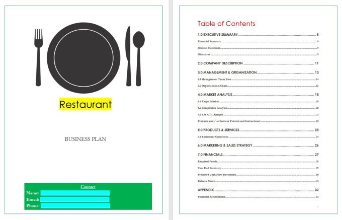 Send Restaurant Business Plan Template With Example Writing And Sample Financial