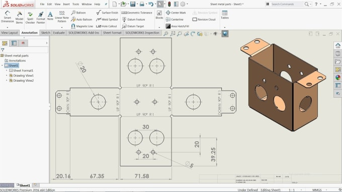 Provide 2d Drawings For Sheet Metal Parts By Sanim2k16