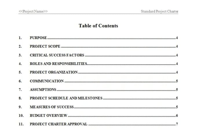 Provide a project charter template in word format by Atwood23