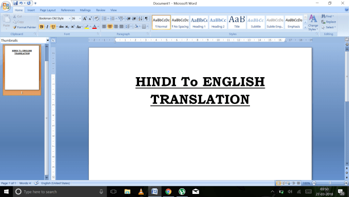 translate hindi documents to english with great accuracy