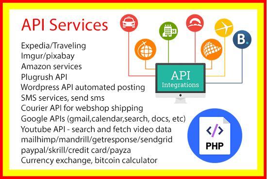 integrate any API services to your website or script