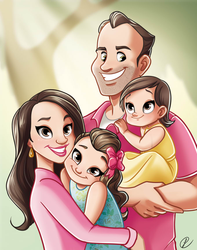 draw you family portrait in disney style by gruetzi