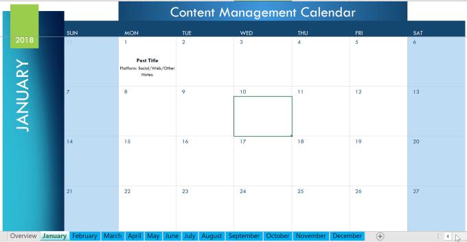 Provide a social media management calendar template by Risccon