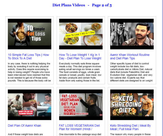 give you a ready to use diet plan video website