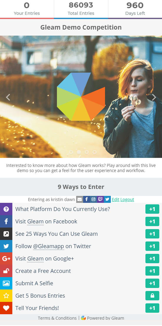 kristinlfg : I will design a giveaway through gleam for $15 on  www fiverr com