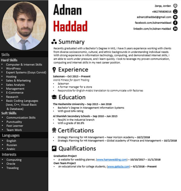 design and create a professional resume
