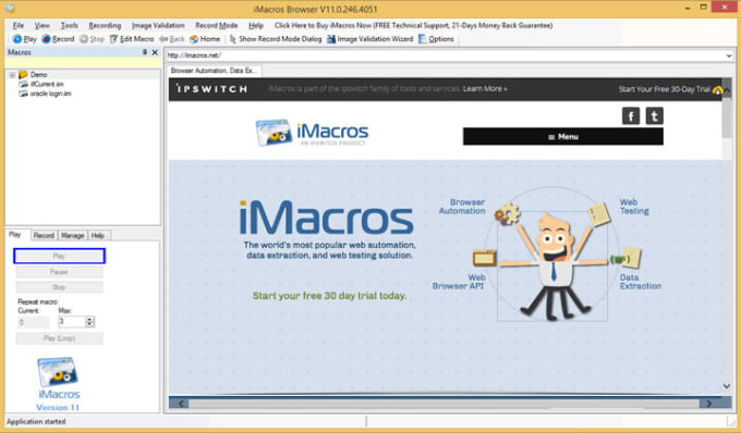 write you imacros script for web automation