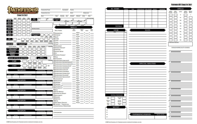 create your pathfinder character sheet and backstory