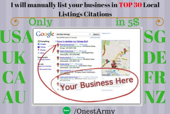 100 local listings, directory submission, local citations