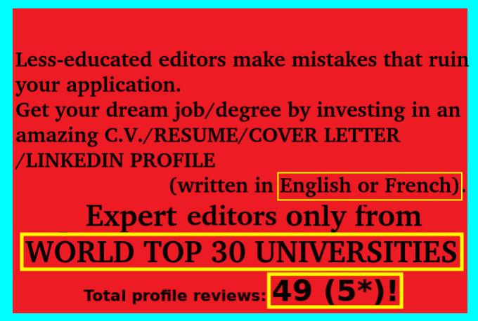 proofread or edit a cv resume letter or linkedin fast