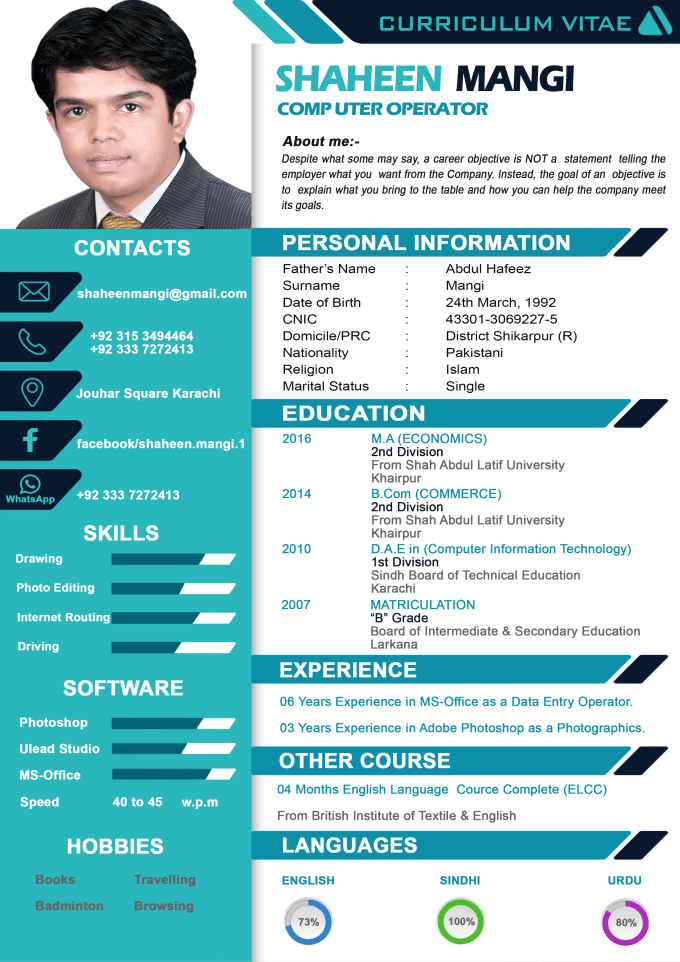 design attractive cv and resume designs for you by shaheenmangi