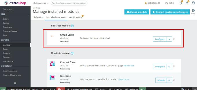 prestashop gmail login module