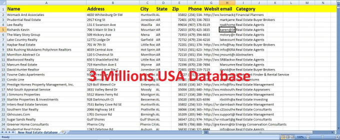 provide 3 million USA business database
