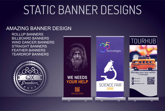 design roll up billboard tear drop static banners etc by qxcreation