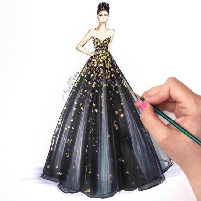 Fashion Model Sketch Dress