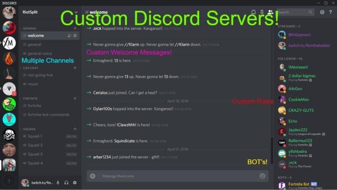 create custom discord servers with bots