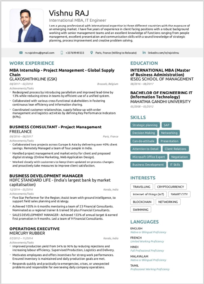 Create ats friendly cv, resume and cover letter by Vishnuraj007