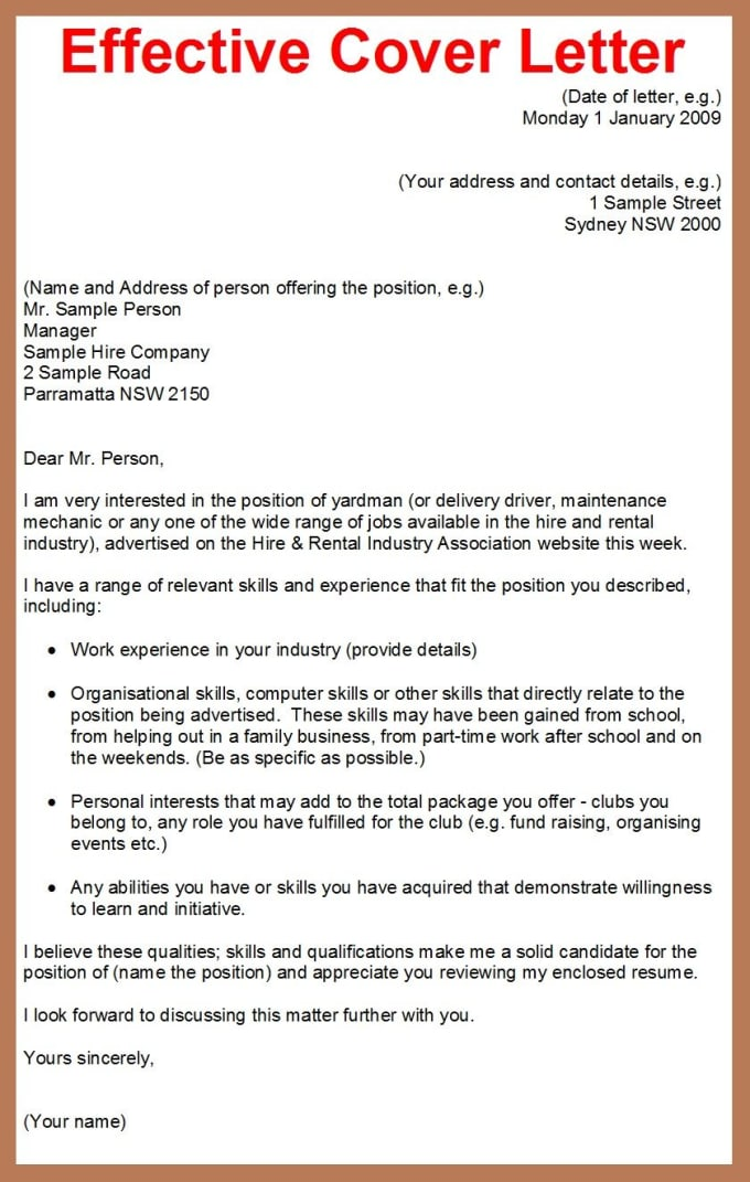write good cover letter