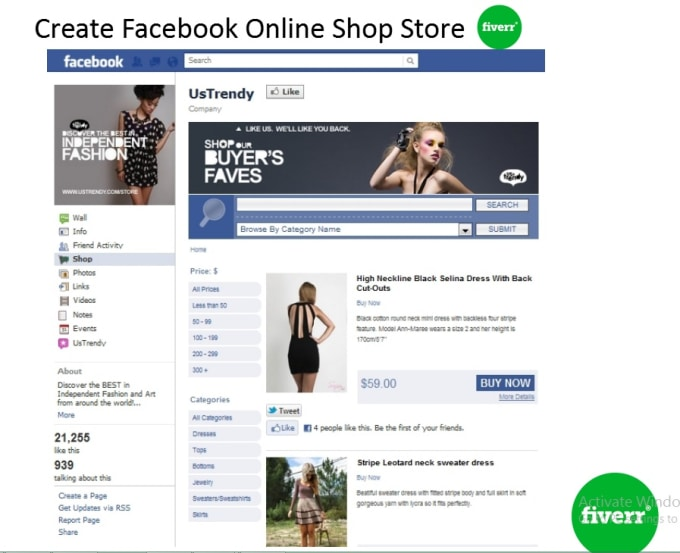 create facebook online shop store