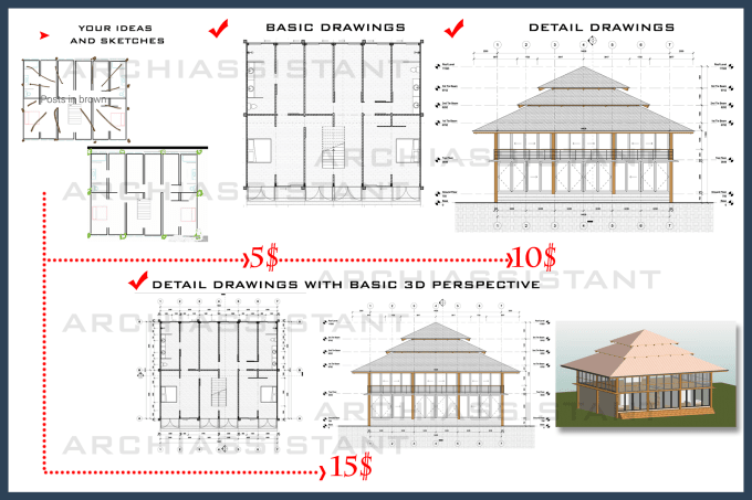 do architectural drawings floor plan, elevation, section