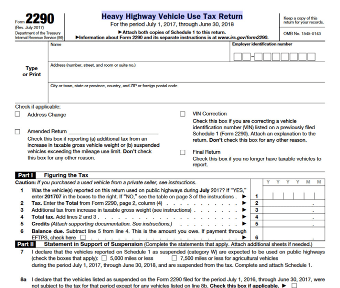 2290 form address  jhodgson : I will file your form 8 electronically for $8 on  www.fiverr.com