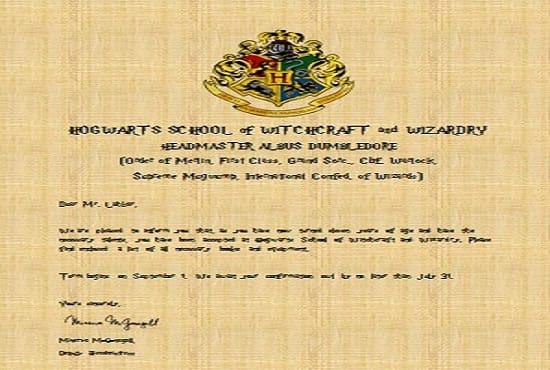 Custom Hogwarts Acceptance Letter.Anuraglahkar I Will Make A Custom Hogwarts Acceptance Letter For 5 On Www Fiverr Com