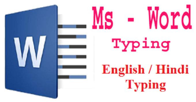 english and hindi typing work etc