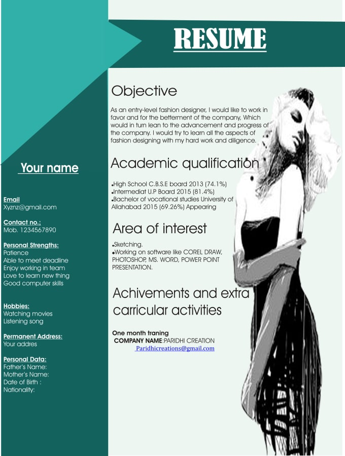 Make Creative Resume For You By Fashionlover958