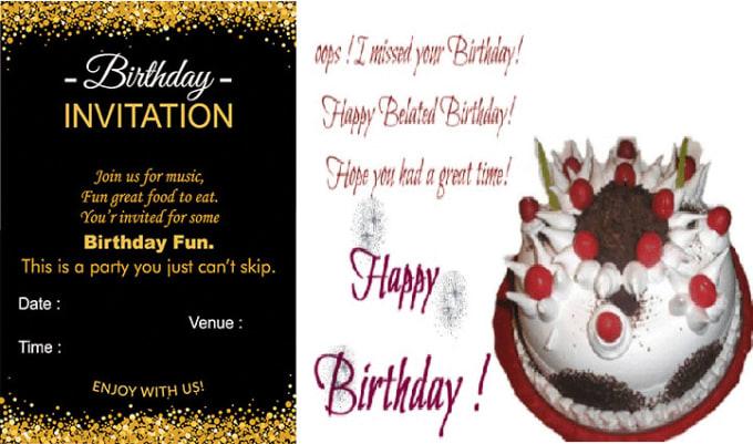 I Will Design A Unique Birthday Invitation Card For You