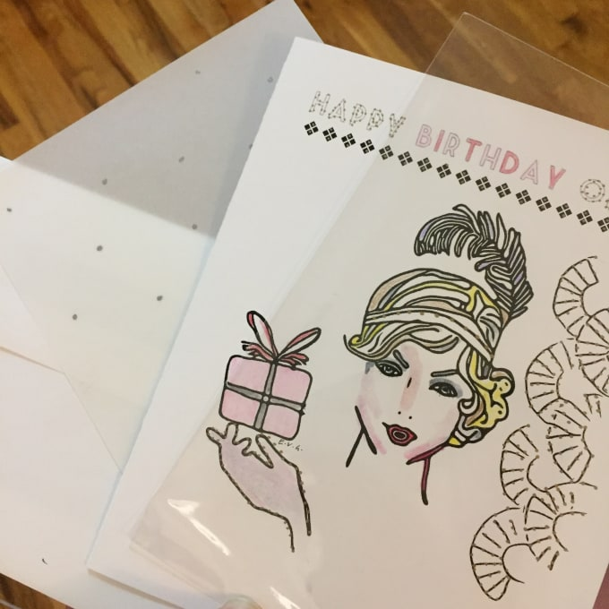 Handpaint And Customize By Name A Birthday Card In Art Deco Style