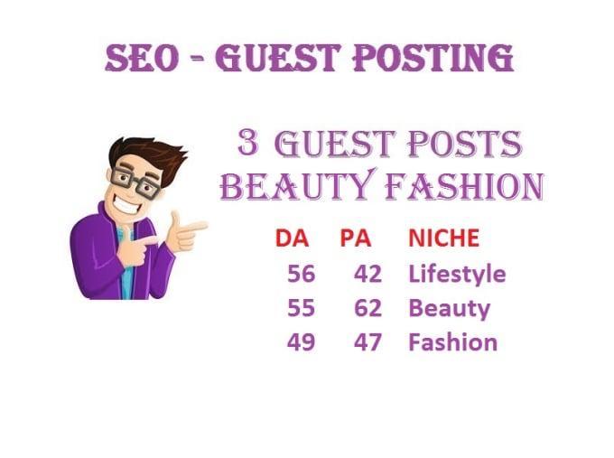 publish 3 guest posts on beauty fashion niche da55 pa62 link building