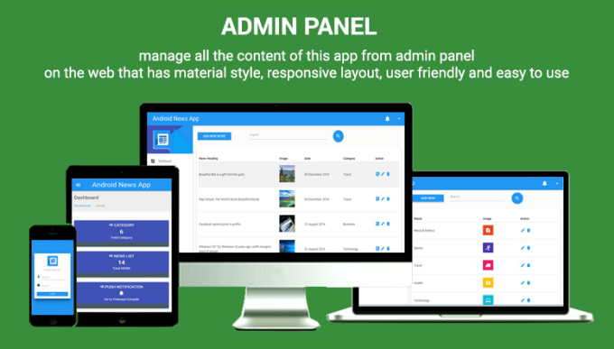 develop admin panel for andriod ios app in PHP codeingiter