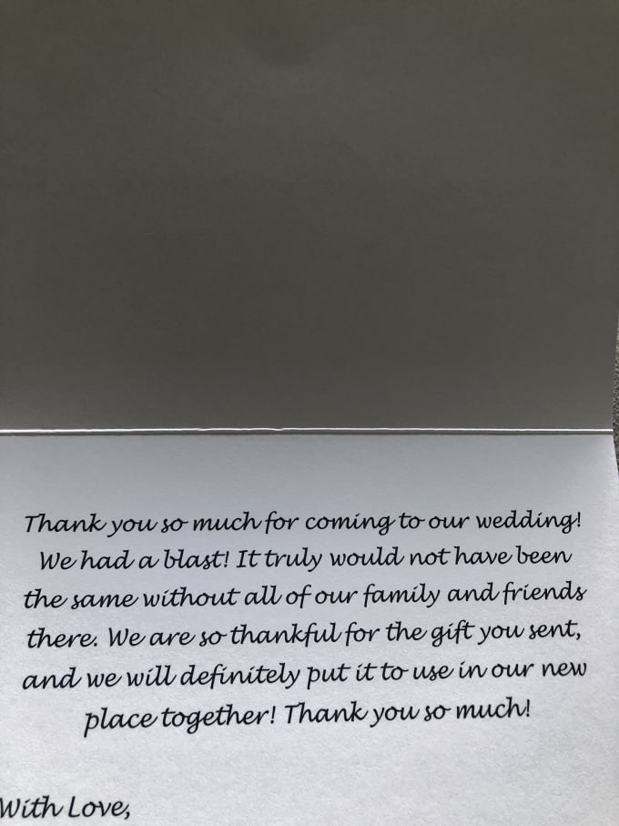 Customized Wedding Thank You Cards That Are Delivered By Okoraforn