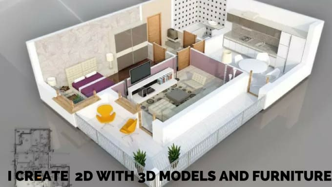 2d or 3d modeling using sketchup, autocad, with vray rendering