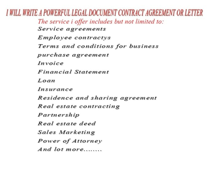 Write A Powerful Legal Documentcontract Agreement Or Agreement - Partnership legal documents