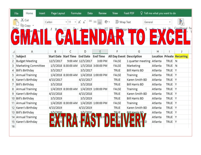 dayadaiyan : I will export google gmail events calendar to excel,  spreadsheet for $10 on www fiverr com
