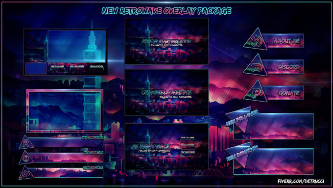 sell you this retrowave twitch overlay package